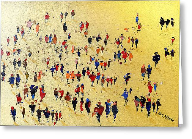 Crowd Greeting Cards - Come on You Reds Greeting Card by Neil McBride