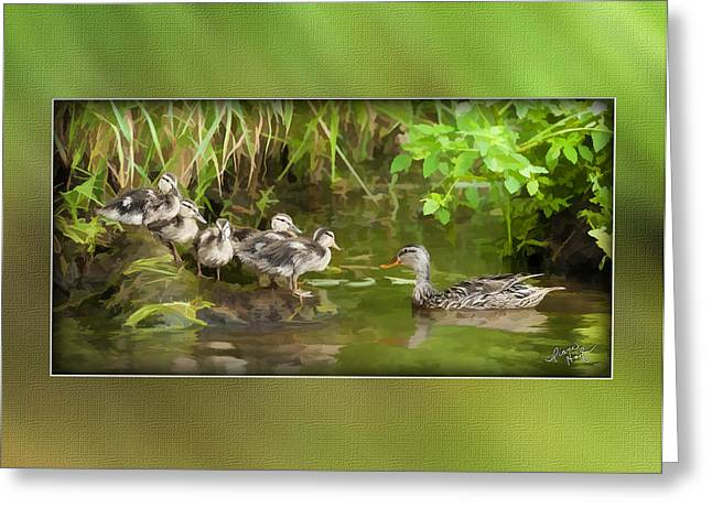 Baby Mallards Digital Art Greeting Cards - Come On...The Waters Fine. Greeting Card by Diane Hagler