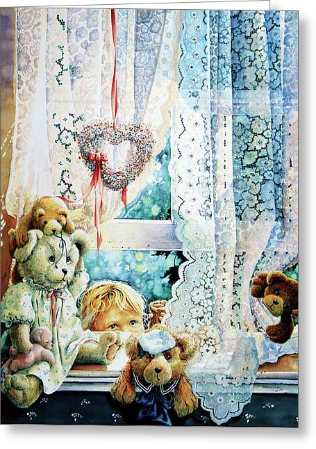 Lace Curtains Greeting Cards - Come Out And Play Teddy Greeting Card by Hanne Lore Koehler