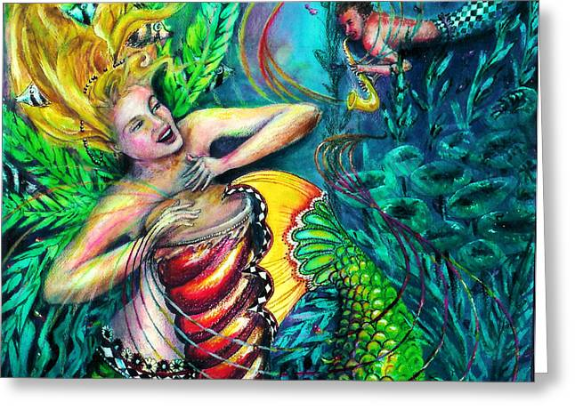 Mermaid Lovers Greeting Cards - Come Play With Me Greeting Card by Maria Valladarez