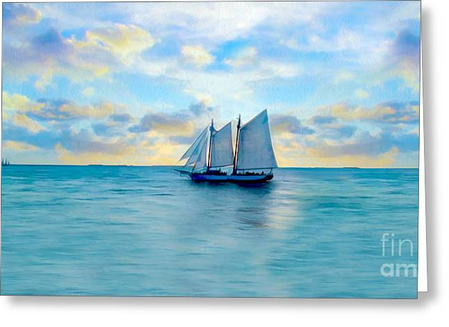 Ocean Sailing Greeting Cards - Come Sail Away Painting Greeting Card by Jon Neidert