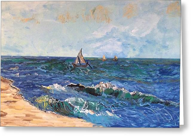 Blue Green Wave Greeting Cards - Come Sail With Me Greeting Card by Belinda Low