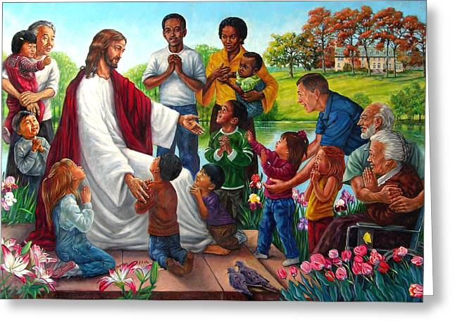Come Unto Me Greeting Card by John Lautermilch