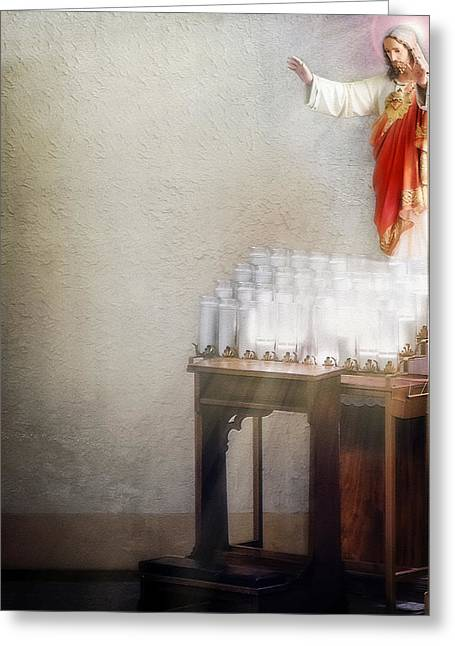 The Wooden Cross Greeting Cards - Come Unto Me Greeting Card by Sennie Pierson