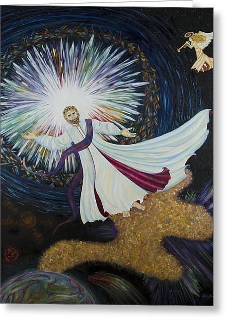 Angel With Star Greeting Cards - Come With Me Greeting Card by Julia Bowman