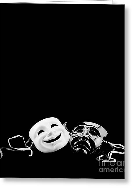 Theater Masks Greeting Cards - Comedy and Tragedy Greeting Card by Jon Neidert