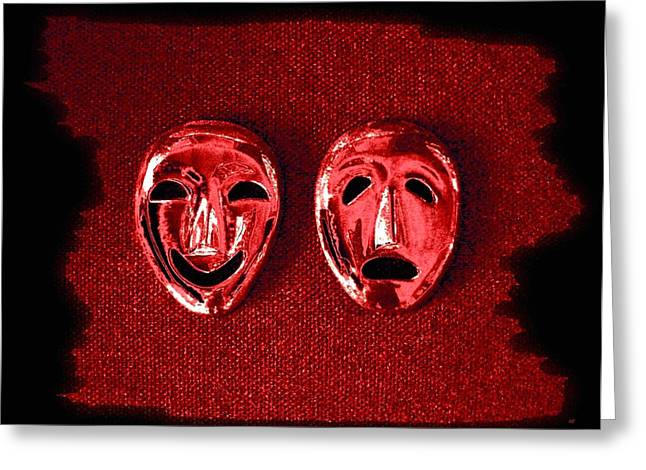 Intrigue Greeting Cards - Comedy And Tragedy Masks 4 Greeting Card by Will Borden