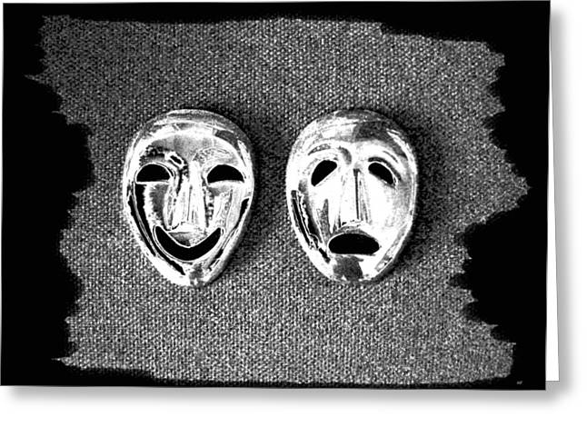 Intrigue Greeting Cards - Comedy And Tragedy Masks 7 Greeting Card by Will Borden