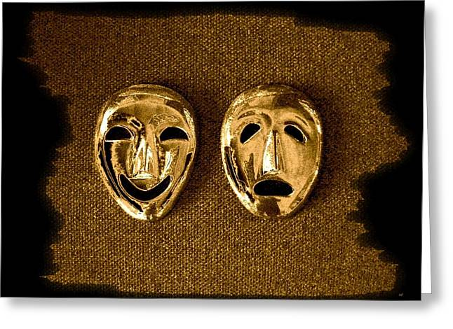Intrigue Greeting Cards - Comedy And Tragedy Masks 1 Greeting Card by Will Borden