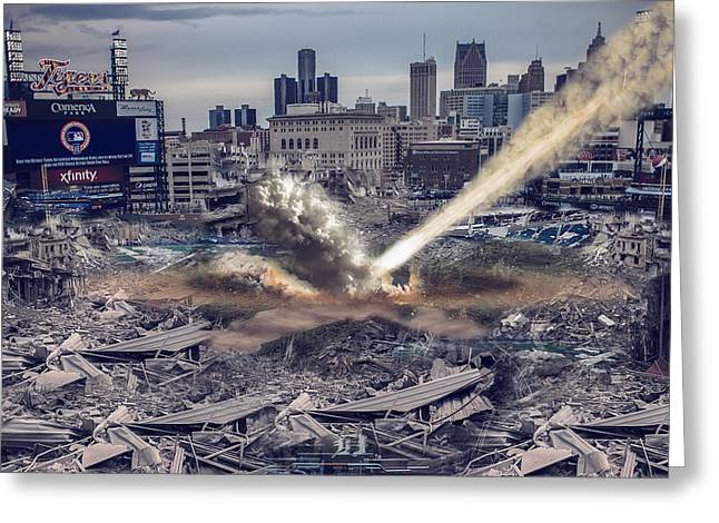 Detroit Pistons Digital Greeting Cards - Comerica Park Asteroid Greeting Card by Nicholas  Grunas