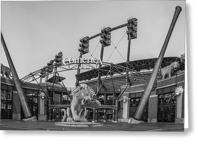 Baseball Stadiums Greeting Cards - Comerica Park Black and White Greeting Card by John McGraw
