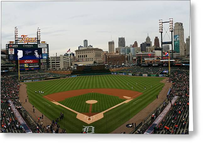 2nd Base Greeting Cards - Comerica Park - Detroit Tigers Greeting Card by Michael Rucker