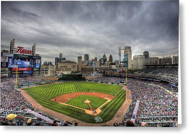 Tigers Greeting Cards - Comerica Park Home of the Tigers Greeting Card by Shawn Everhart