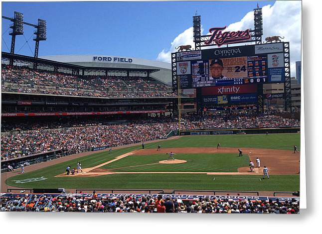 2nd Base Greeting Cards - Comerica Park Greeting Card by Michael Rucker