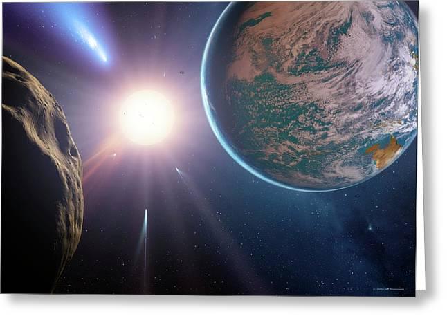 Comet Approaching Earth-like Planet Greeting Card by Detlev Van Ravenswaay