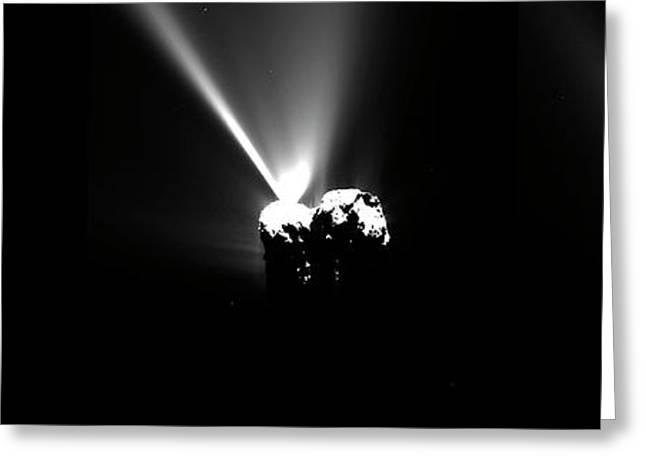 Comet Churyumov-gerasimenko At Perihelion Greeting Card by European Space Agency/rosetta/mps For Osiris Team Mps/upd/lam/iaa/sso/inta/upm/dasp/ida