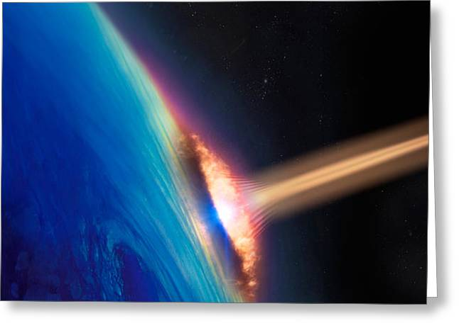 Comet Greeting Cards - Comet Crashing Into Earth Greeting Card by Panoramic Images