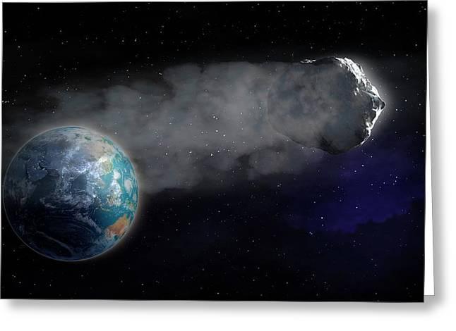 Comet Flying Towards Earth Greeting Card by Andrzej Wojcicki