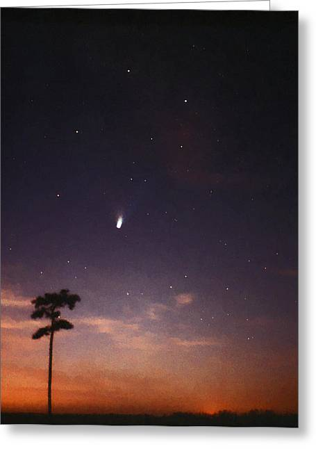 Comet Hale-bopp Photography Greeting Cards - Comet Hale-Bopp And The Milky Way. Greeting Card by Chris  Kusik