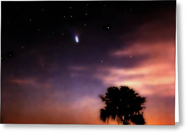 Comet Hale-bopp Photography Greeting Cards - Comet Hale-Bopp at Sunrise. Lake Kissimmee. Greeting Card by Chris  Kusik