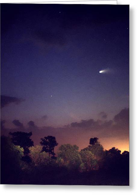 Comet Hale-bopp Photography Greeting Cards - Comet Hale-Bopp. Lake Cypress. Greeting Card by Chris  Kusik
