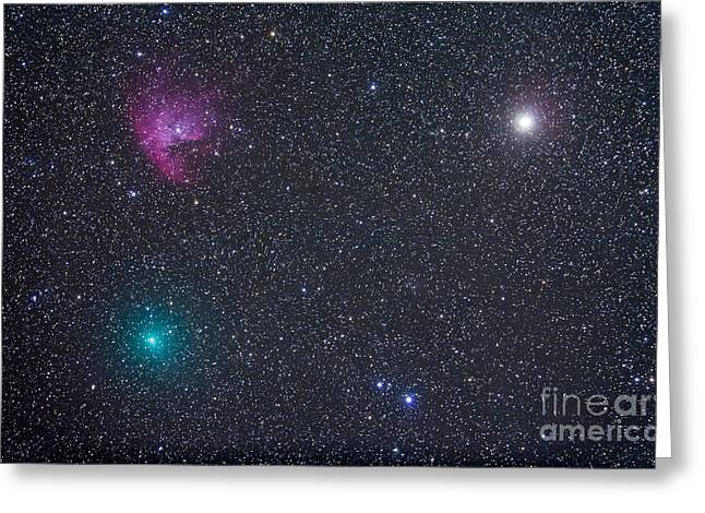 Comet Hartley 2 Near The Pacman Nebula Greeting Card by Alan Dyer