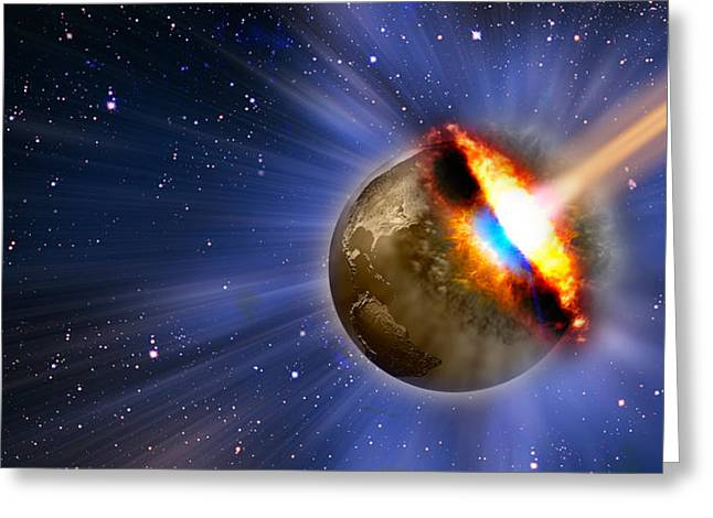 Comet Greeting Cards - Comet Hitting Earth Greeting Card by Panoramic Images