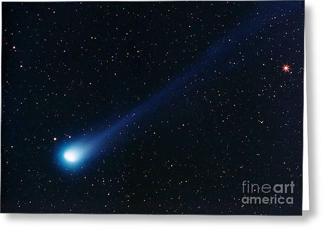 Arcturus Greeting Cards - Comet Hyakutake And Arcturus Greeting Card by John Chumack