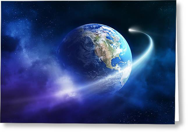 Nebula Greeting Cards - Comet moving passing planet earth Greeting Card by Johan Swanepoel