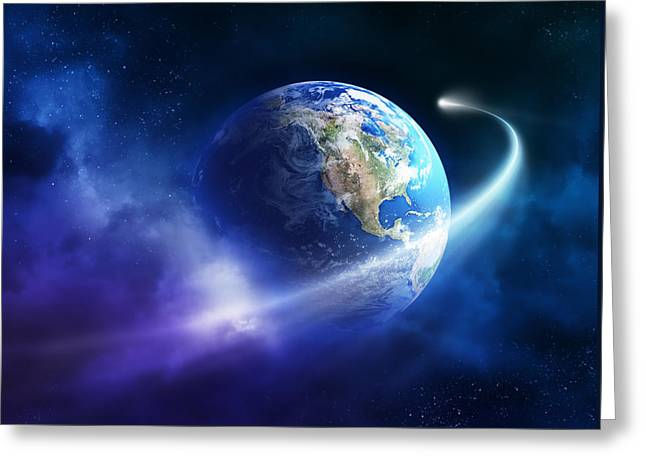 Planet Earth Greeting Cards - Comet moving passing planet earth Greeting Card by Johan Swanepoel