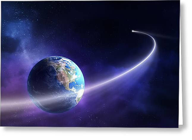 Nebula Greeting Cards - Comet moving past planet earth Greeting Card by Johan Swanepoel