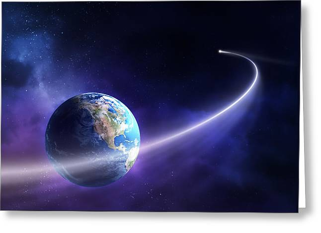 Planet Earth Greeting Cards - Comet moving past planet earth Greeting Card by Johan Swanepoel