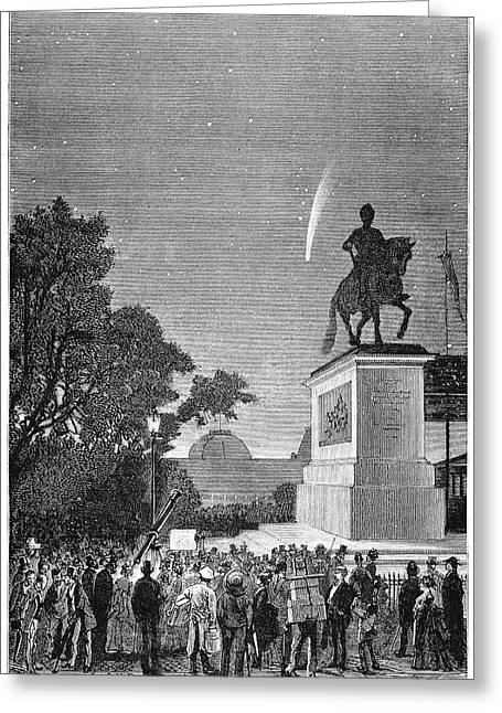 Comet Of 1874 From Paris Greeting Card by Royal Astronomical Society