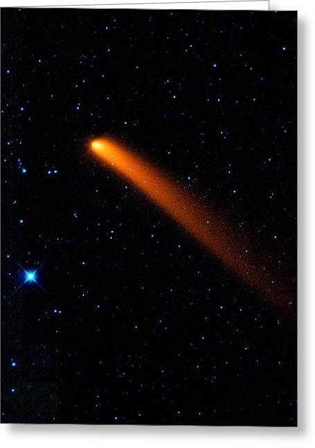 Long Period Comet Greeting Cards - Comet Siding Spring, infrared image Greeting Card by Science Photo Library