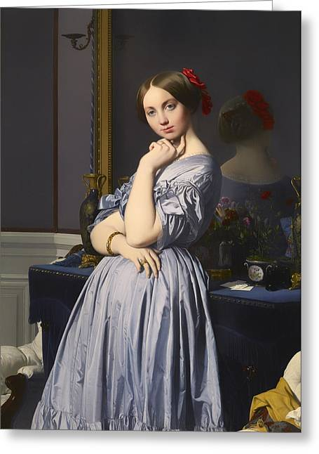 Chin On Hand Paintings Greeting Cards - Cometesse d Haussonville Greeting Card by Jean-Auguste-Dominique Ingres