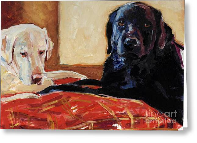 Black Labrador Greeting Cards - Comfort and Joy Greeting Card by Molly Poole
