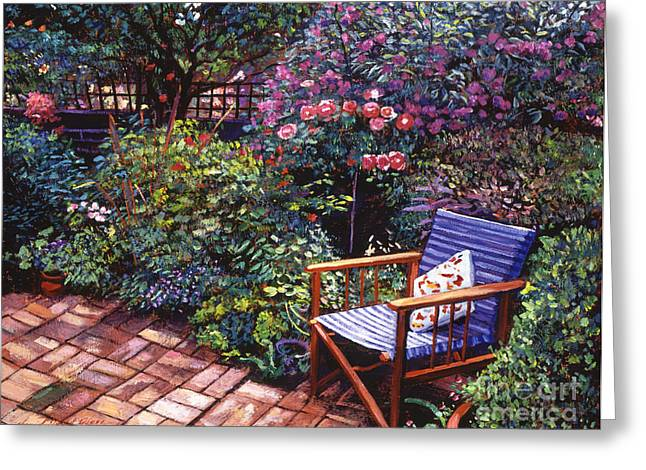 Brick Patio Greeting Cards - Comfort Chair Greeting Card by David Lloyd Glover
