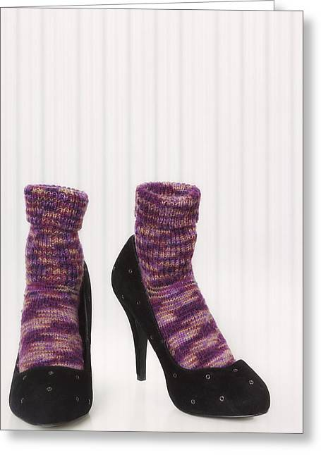 Woollen Greeting Cards - Comfort For Sore Feet Greeting Card by Joana Kruse