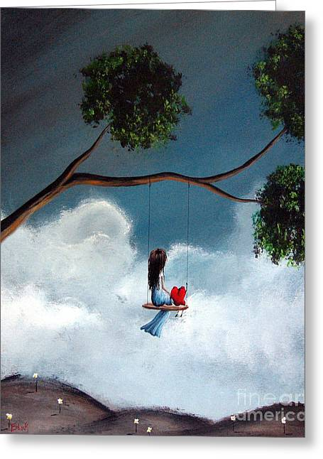 Child In Clouds Greeting Cards - Comfortable Silence by Shawna Erback Greeting Card by Shawna Erback