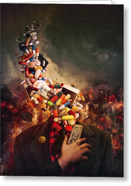 Pill Greeting Cards - Comfortably Numb Greeting Card by Mario Sanchez Nevado
