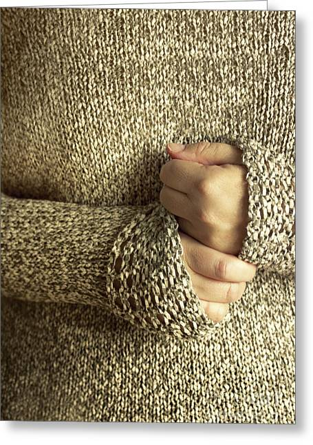 Hand-knitted Greeting Cards - Comforting Greeting Card by Margie Hurwich