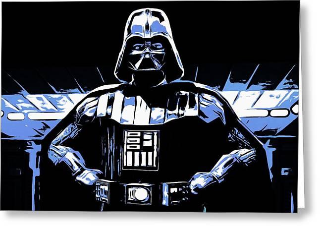 Tricks Mixed Media Greeting Cards - Comic Book Darth Vader Greeting Card by Dan Sproul