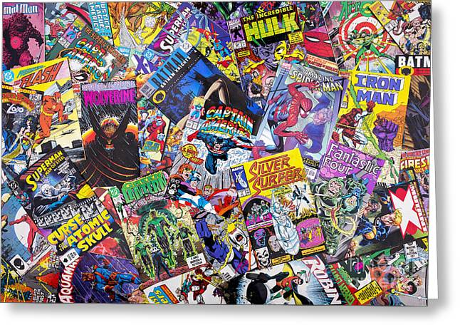 Colour Greeting Cards - Comic Book Heros Greeting Card by Tim Gainey