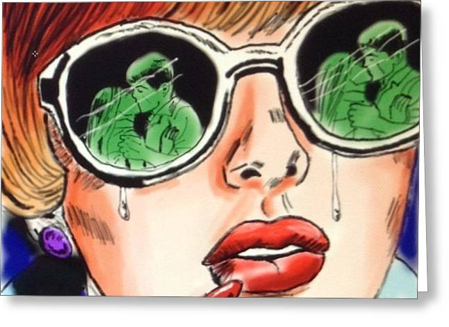 Tears Greeting Cards - Comic Book Woman Greeting Card by Shelby Rawlusyk
