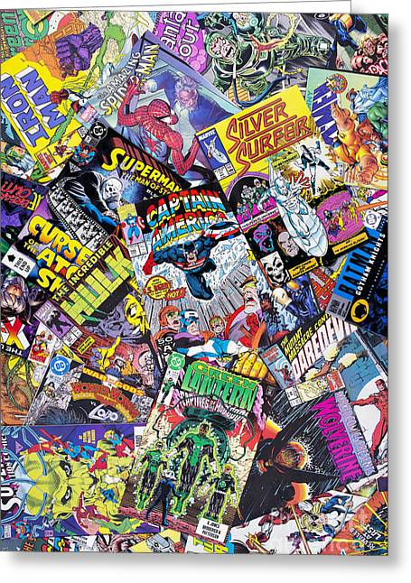 Four Greeting Cards - Comic Heros Greeting Card by Tim Gainey