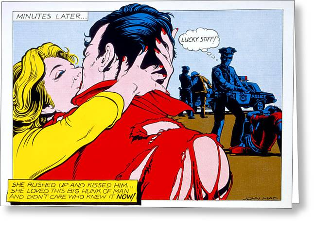 Comicstrip Greeting Cards - Comic Strip Kiss Greeting Card by MGL Studio