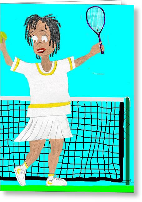 Tennis Drawings Greeting Cards - Comic Tennis Match Greeting Card by Judith Stewart