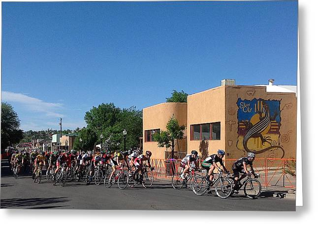 Tour Of The Gila Greeting Cards - Comin Round the Bend Greeting Card by Feva  Fotos