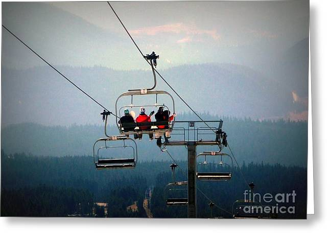 Snow Boarder Greeting Cards - Coming Down Greeting Card by Susan Garren