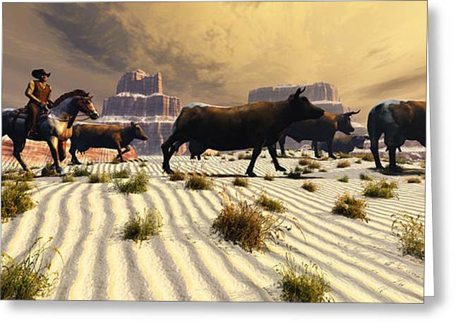Bull Rider Art Greeting Cards - Coming Home Greeting Card by Corey Ford
